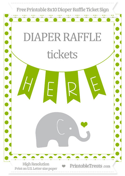 Free Apple Green Dotted Baby Elephant 8x10 Diaper Raffle Ticket Sign