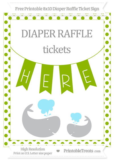 Free Apple Green Dotted Baby Whale 8x10 Diaper Raffle Ticket Sign