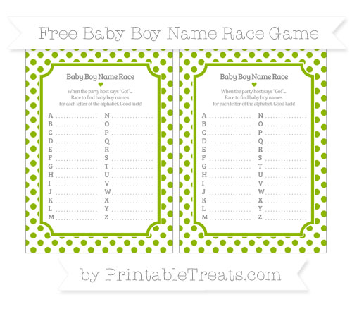 Free Apple Green Dotted Pattern Baby Boy Name Race Game