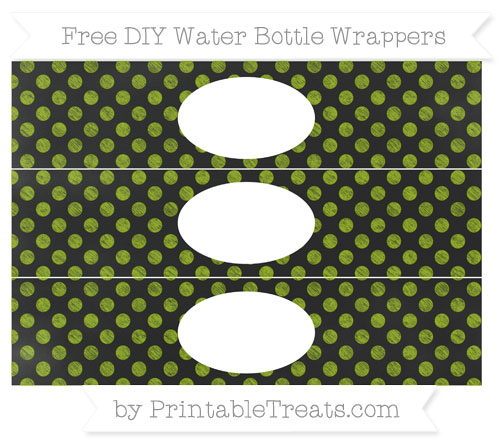 Free Apple Green Dotted Pattern Chalk Style DIY Water Bottle Wrappers