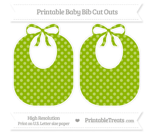 Free Apple Green Dotted Pattern Large Baby Bib Cut Outs