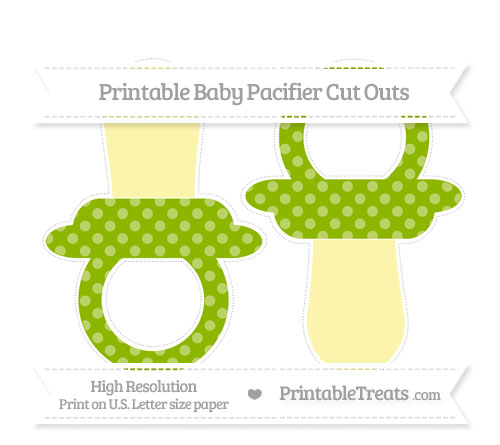 Free Apple Green Dotted Pattern Large Baby Pacifier Cut Outs