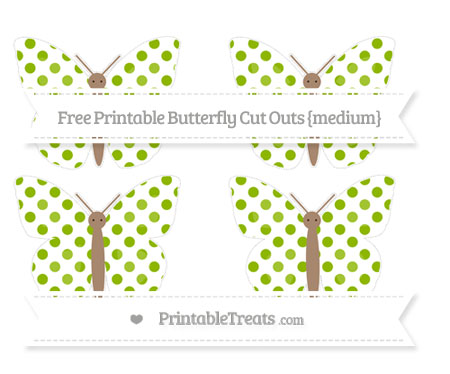 Free Apple Green Dotted Pattern Medium Butterfly Cut Outs