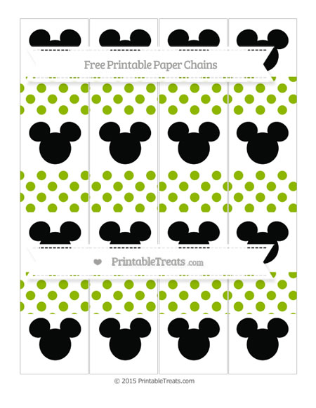 Free Apple Green Dotted Pattern Mickey Mouse Paper Chains
