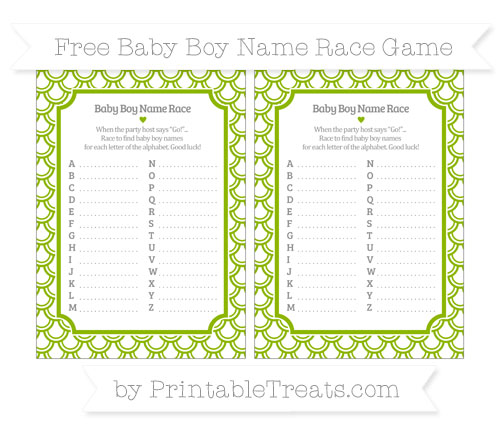 Free Apple Green Fish Scale Pattern Baby Boy Name Race Game