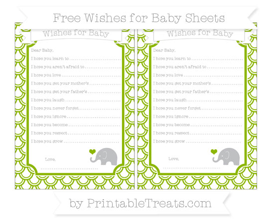 Free Apple Green Fish Scale Pattern Baby Elephant Wishes for Baby Sheets