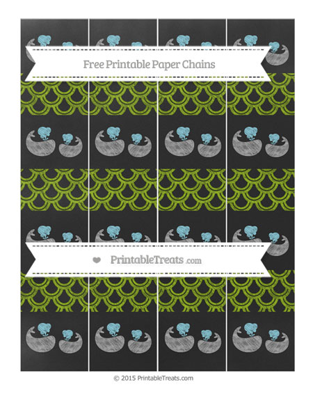 Free Apple Green Fish Scale Pattern Chalk Style Baby Whale Paper Chains