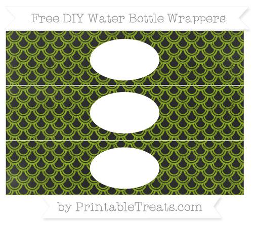 Free Apple Green Fish Scale Pattern Chalk Style DIY Water Bottle Wrappers
