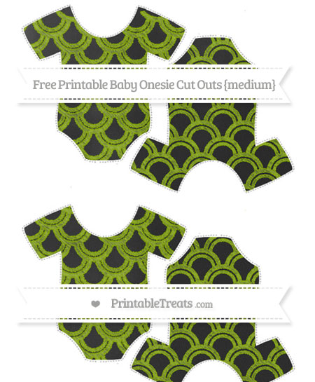 Free Apple Green Fish Scale Pattern Chalk Style Medium Baby Onesie Cut Outs