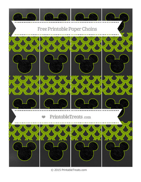 Free Apple Green Fish Scale Pattern Chalk Style Mickey Mouse Paper Chains