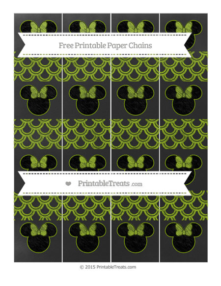 Free Apple Green Fish Scale Pattern Chalk Style Minnie Mouse Paper Chains