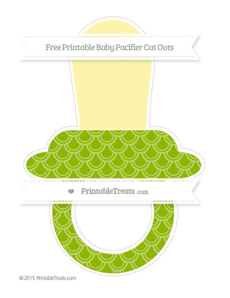 Free Apple Green Fish Scale Pattern Extra Large Baby Pacifier Cut Outs