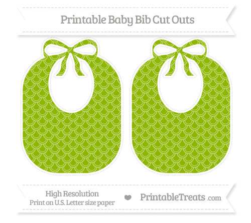 Free Apple Green Fish Scale Pattern Large Baby Bib Cut Outs