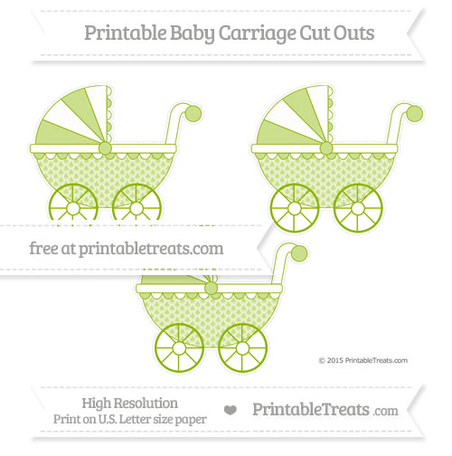 Free Apple Green Fish Scale Pattern Medium Baby Carriage Cut Outs