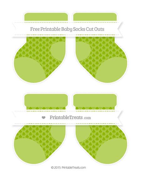 Free Apple Green Fish Scale Pattern Medium Baby Socks Cut Outs