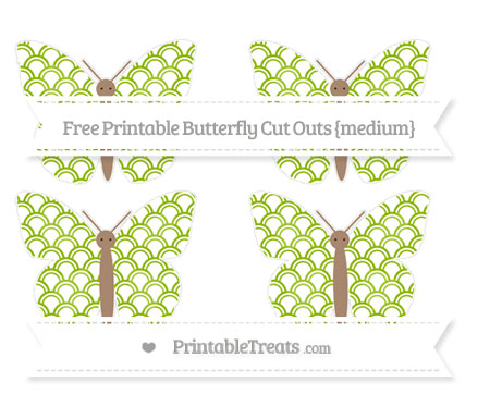 Free Apple Green Fish Scale Pattern Medium Butterfly Cut Outs
