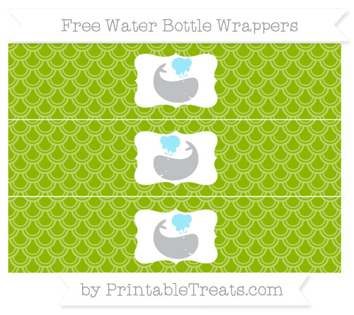 Free Apple Green Fish Scale Pattern Whale Water Bottle Wrappers