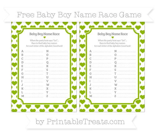 Free Apple Green Heart Pattern Baby Boy Name Race Game