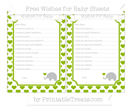 Free Apple Green Heart Pattern Baby Elephant Wishes for Baby Sheets