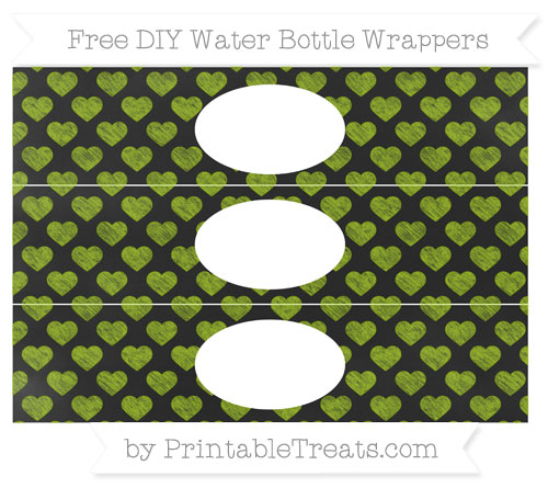 Free Apple Green Heart Pattern Chalk Style DIY Water Bottle Wrappers