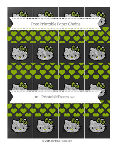 Free Apple Green Heart Pattern Chalk Style Hello Kitty Paper Chains