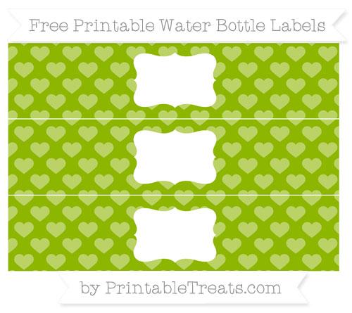 Free Apple Green Heart Pattern Water Bottle Labels