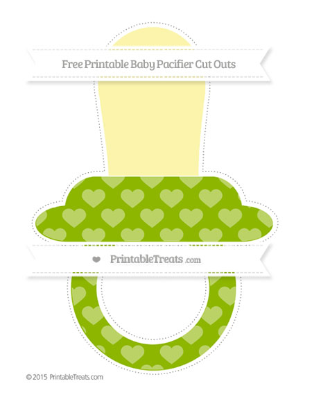 Free Apple Green Heart Pattern Extra Large Baby Pacifier Cut Outs