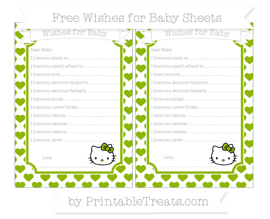 Free Apple Green Heart Pattern Hello Kitty Wishes for Baby Sheets