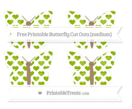 Free Apple Green Heart Pattern Medium Butterfly Cut Outs