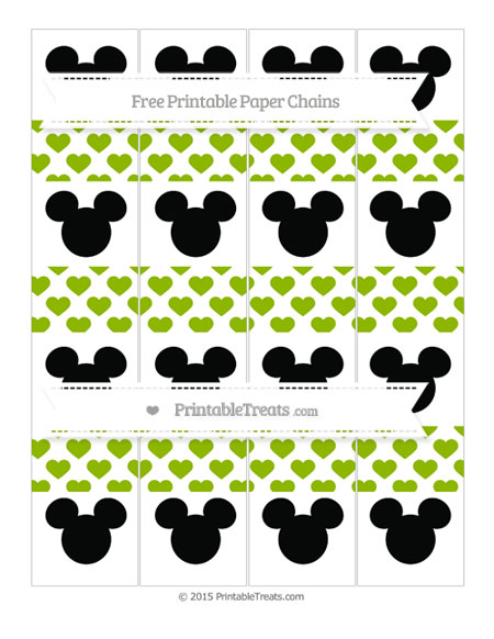 Free Apple Green Heart Pattern Mickey Mouse Paper Chains