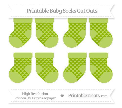 Free Apple Green Heart Pattern Small Baby Socks Cut Outs