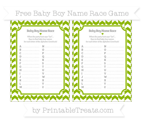 Free Apple Green Herringbone Pattern Baby Boy Name Race Game