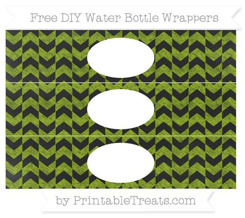 Free Apple Green Herringbone Pattern Chalk Style DIY Water Bottle Wrappers