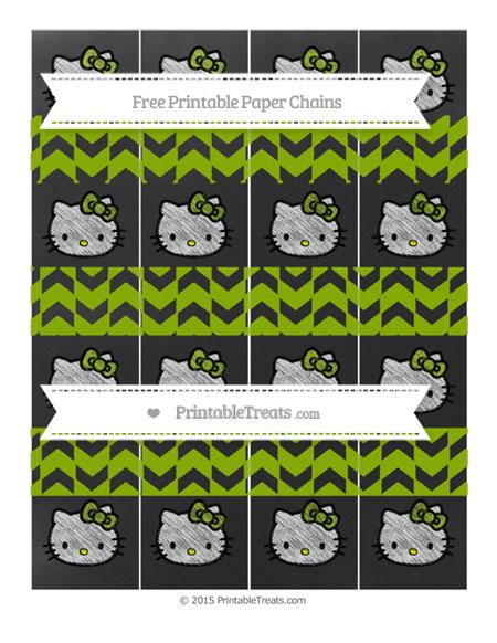 Free Apple Green Herringbone Pattern Chalk Style Hello Kitty Paper Chains