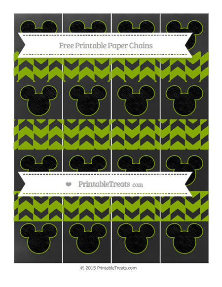 Free Apple Green Herringbone Pattern Chalk Style Mickey Mouse Paper Chains