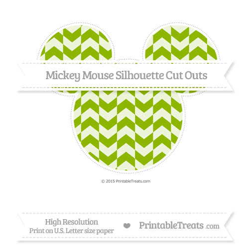 Free Apple Green Herringbone Pattern Extra Large Mickey Mouse Silhouette Cut Outs