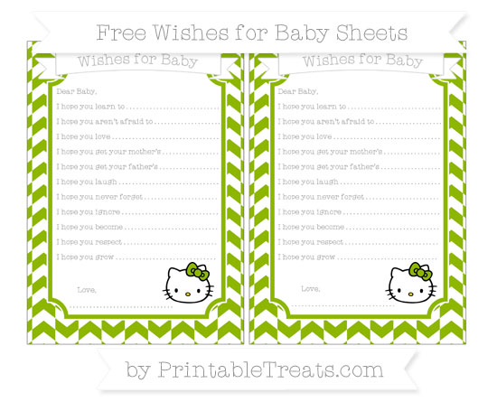 Free Apple Green Herringbone Pattern Hello Kitty Wishes for Baby Sheets