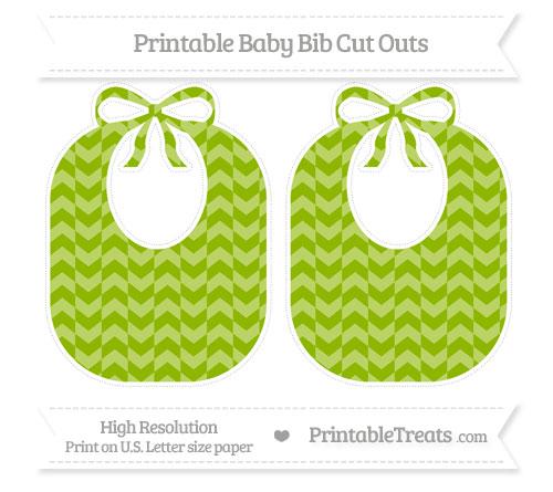 Free Apple Green Herringbone Pattern Large Baby Bib Cut Outs