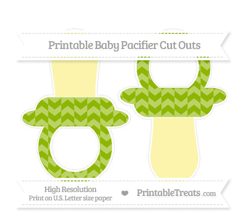 Free Apple Green Herringbone Pattern Large Baby Pacifier Cut Outs