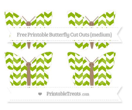 Free Apple Green Herringbone Pattern Medium Butterfly Cut Outs