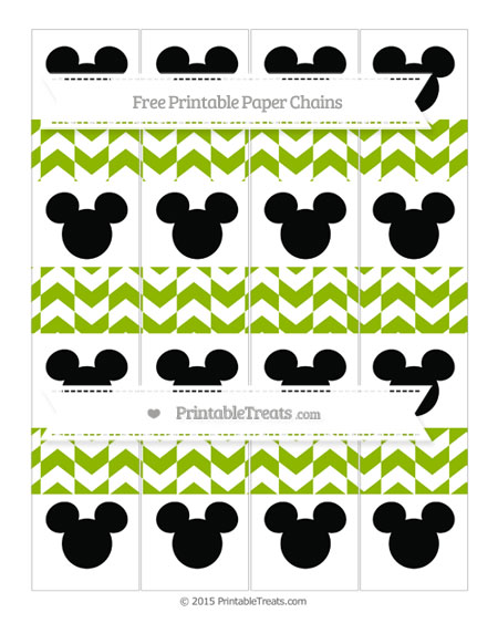 Free Apple Green Herringbone Pattern Mickey Mouse Paper Chains