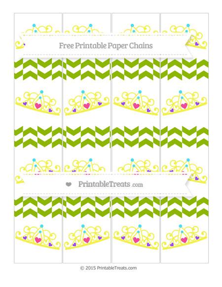 Free Apple Green Herringbone Pattern Princess Tiara Paper Chains