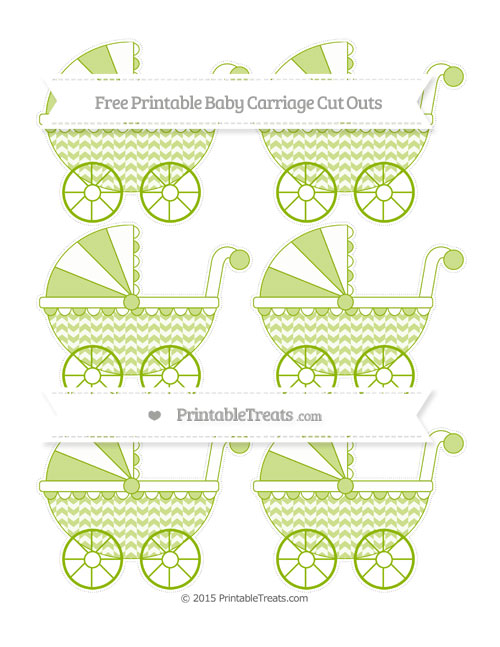 Free Apple Green Herringbone Pattern Small Baby Carriage Cut Outs
