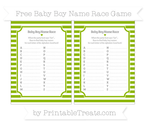 Free Apple Green Horizontal Striped Baby Boy Name Race Game