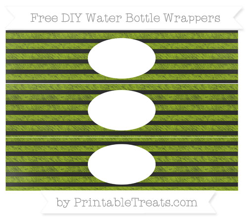 Free Apple Green Horizontal Striped Chalk Style DIY Water Bottle Wrappers