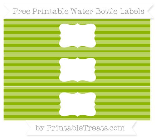 Free Apple Green Horizontal Striped Water Bottle Labels