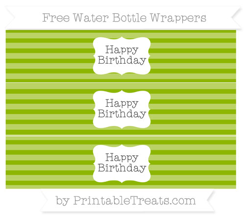 Free Apple Green Horizontal Striped Happy Birhtday Water Bottle Wrappers