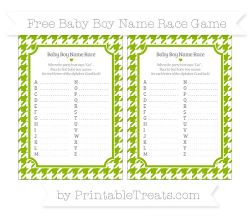 Free Apple Green Houndstooth Pattern Baby Boy Name Race Game