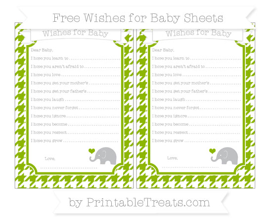 Free Apple Green Houndstooth Pattern Baby Elephant Wishes for Baby Sheets