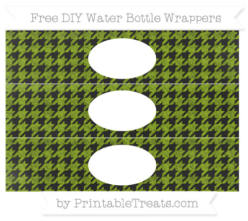 Free Apple Green Houndstooth Pattern Chalk Style DIY Water Bottle Wrappers